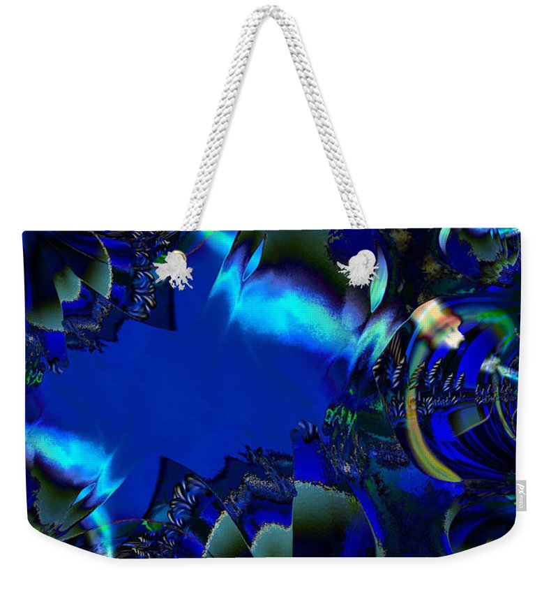 Color Blue Black Busy Woman Digital Drawing Sea Ocean Water Weekender Tote Bag featuring the digital art Steppin Out by Andrea Lawrence