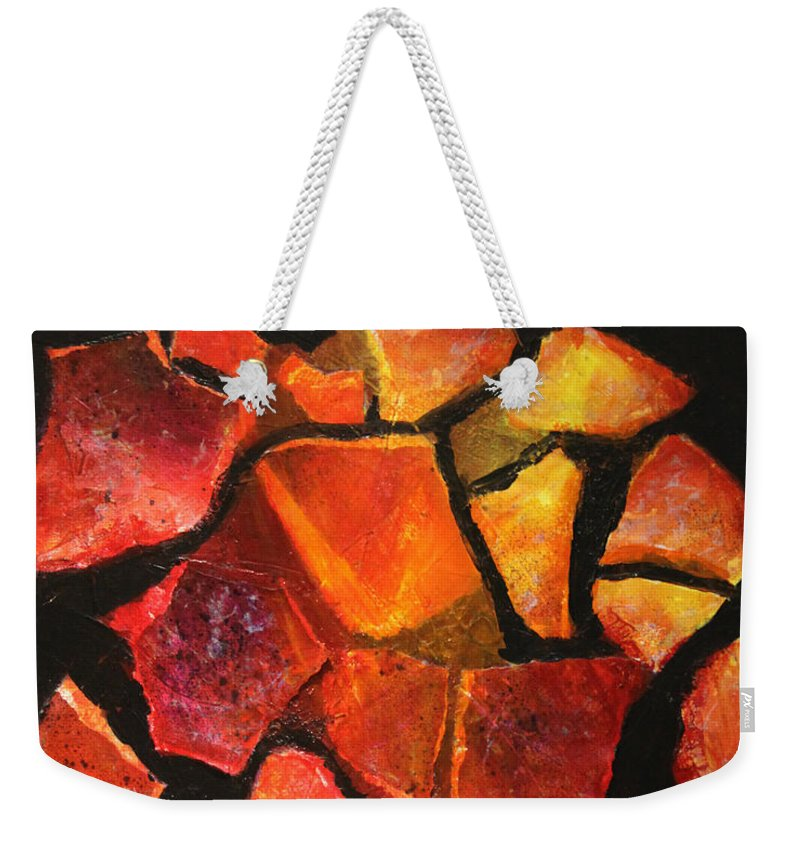 Abstract Weekender Tote Bag featuring the painting Stepping Stones by Karla Britfeld