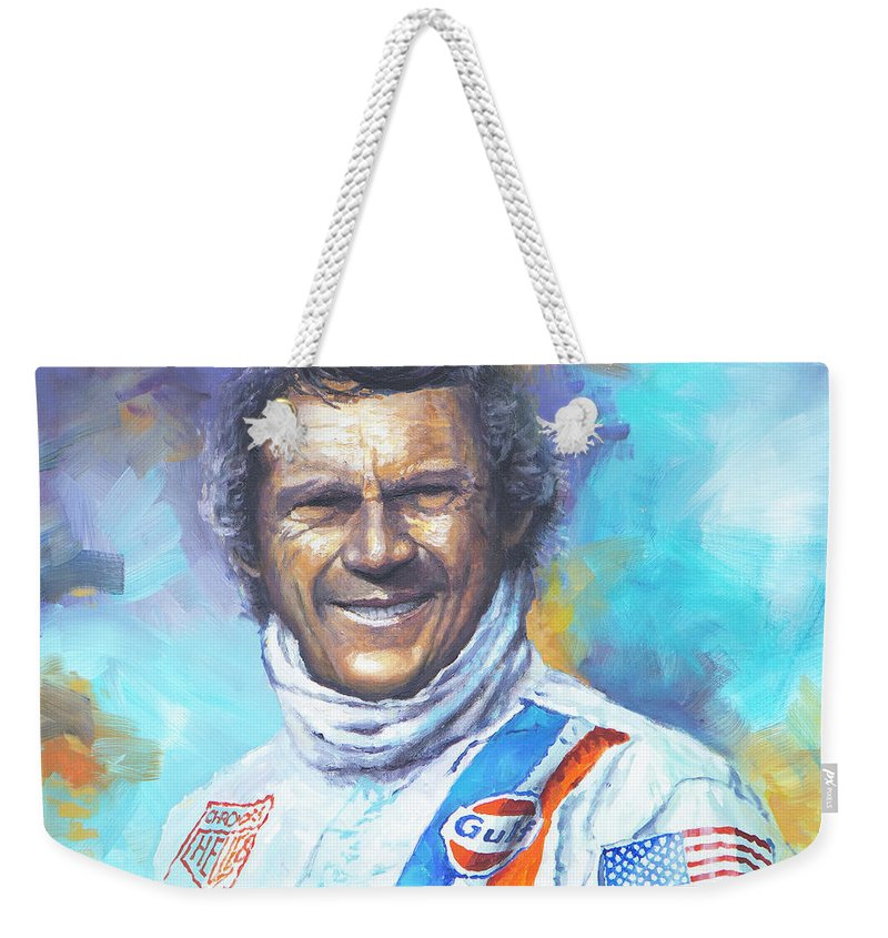 Acrilic Weekender Tote Bag featuring the painting Steve Mcqueen Le Mans Porsche 917 02 by Yuriy Shevchuk
