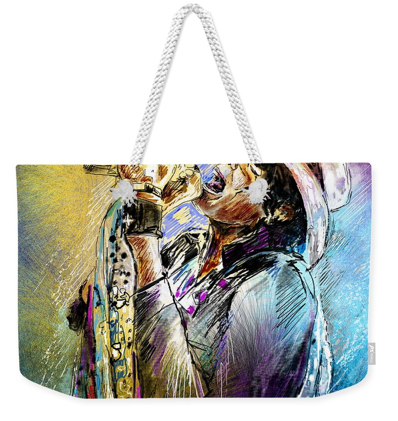 Portraits Weekender Tote Bag featuring the painting Steven Tyler 01 Aerosmith by Miki De Goodaboom