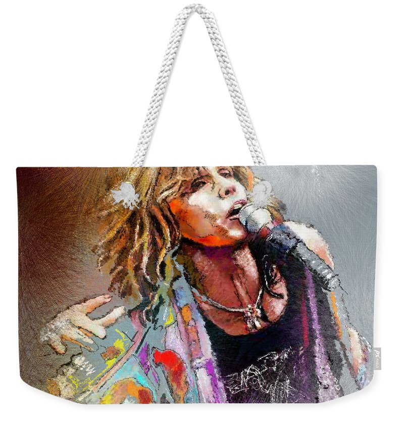 Musicians Weekender Tote Bag featuring the painting Steven Tyler 02 Aerosmith by Miki De Goodaboom