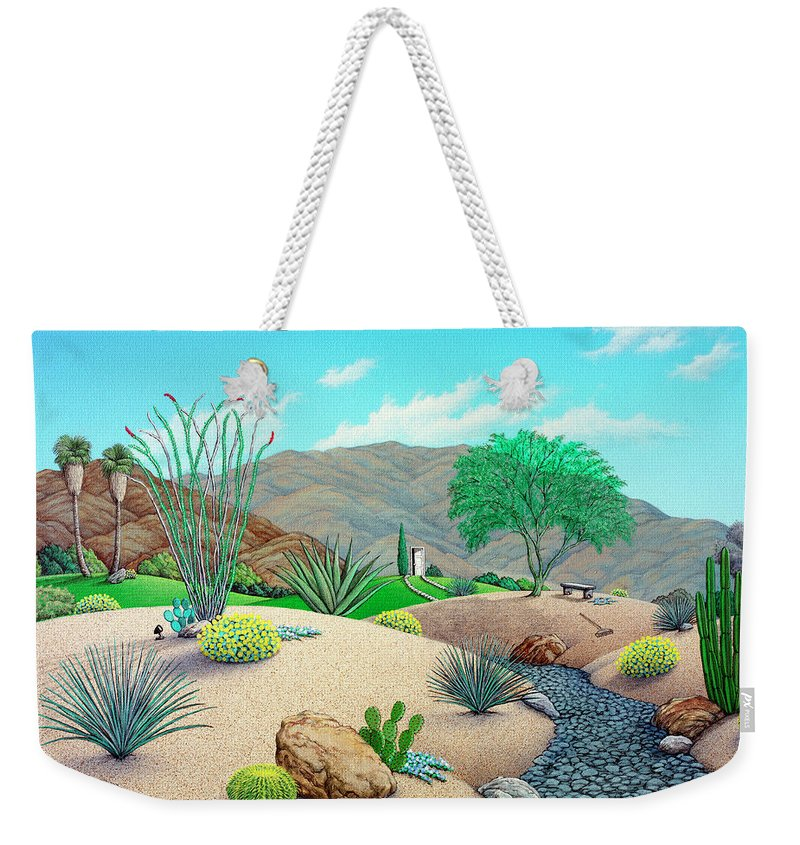 Landscape Weekender Tote Bag featuring the painting Steve's Yard by Snake Jagger