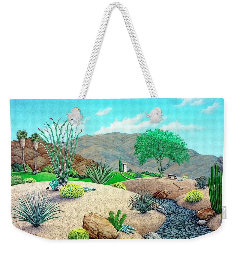 Desert Weekender Tote Bag featuring the painting Steves Yard by Snake Jagger