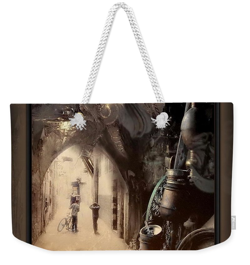 Old Weekender Tote Bag featuring the mixed media Still Breathing by Freddy Kirsheh