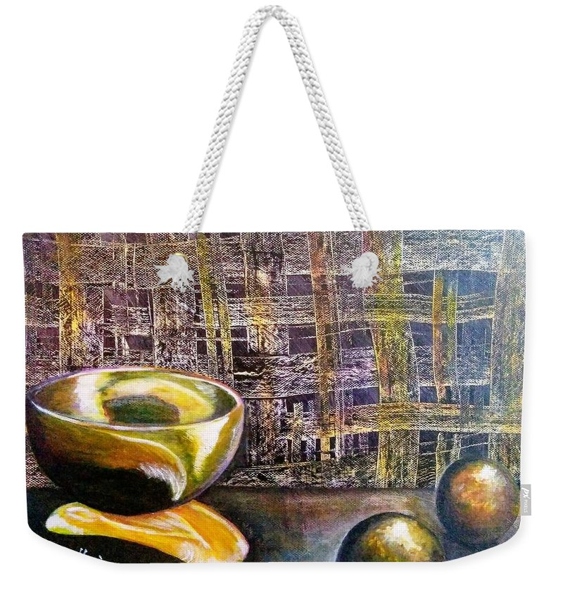 Weekender Tote Bag featuring the painting Still Life by Anthony Camilleri