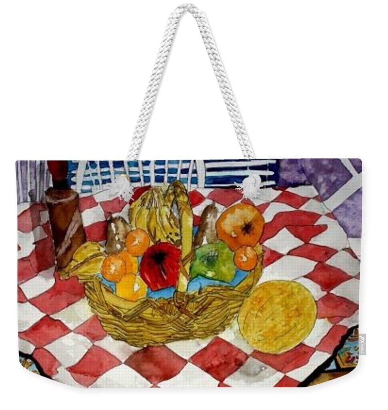Still Life Watercolor Weekender Tote Bag featuring the painting Still Life Art Fruit Basket 3 by Derek Mccrea