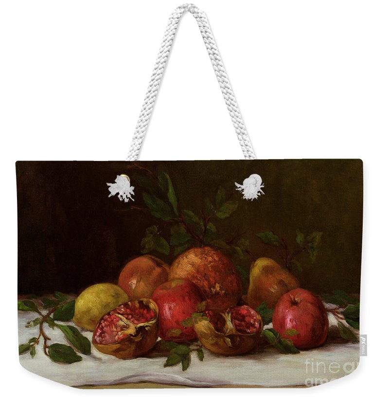Still Weekender Tote Bag featuring the painting Still Life by Gustave Courbet