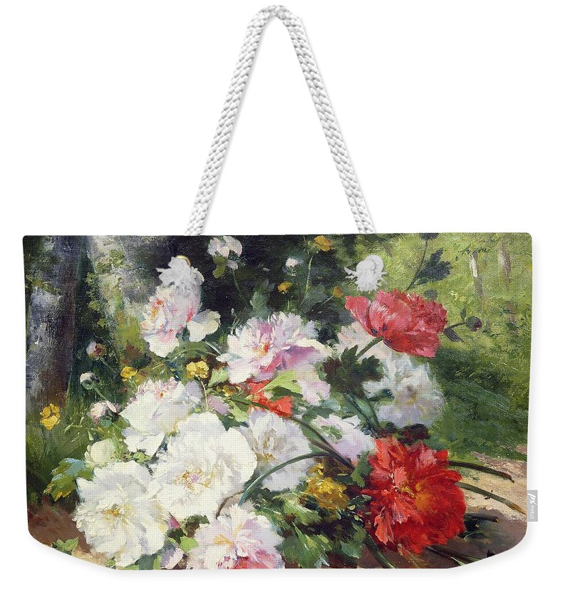 Still Weekender Tote Bag featuring the painting Still Life Of Flowers by Eugene Henri Cauchois