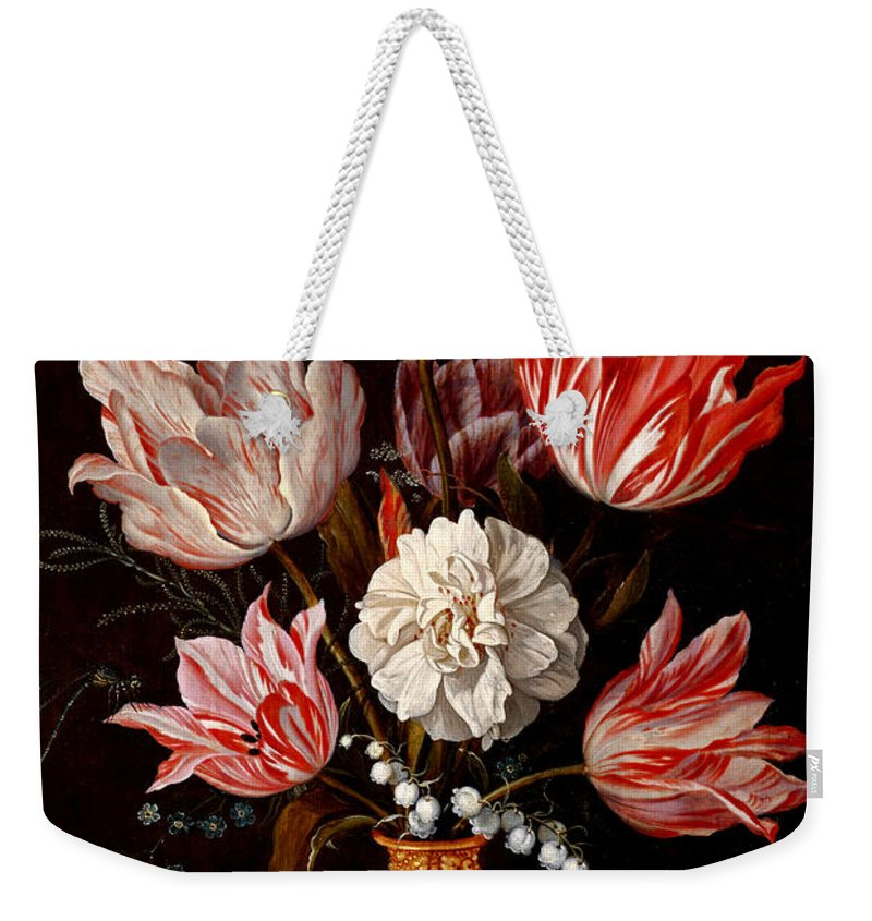 Balthasar Weekender Tote Bag featuring the painting Still Life Of Variegated Tulips In A Ceramic Vase With A Wasp A Dragongly A Butterfly And A Lizard by Balthasar van der Ast