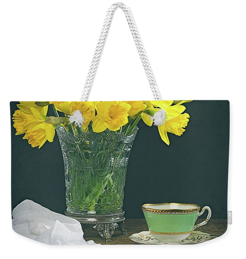 Bunch Weekender Tote Bag featuring the photograph Still Life On Rustic Table by Amanda Elwell
