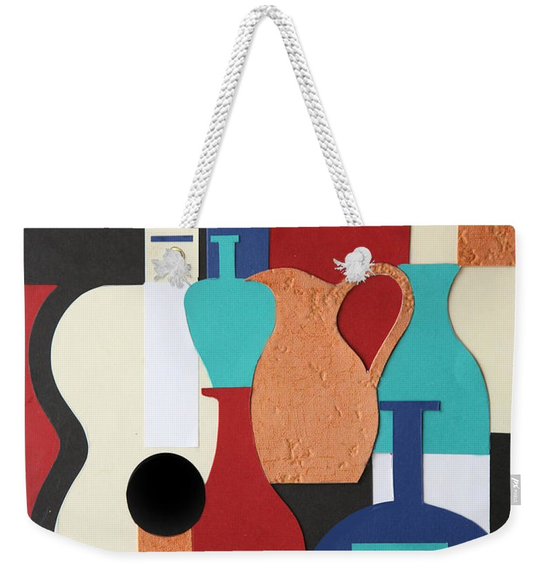 Still Life Weekender Tote Bag featuring the mixed media Still Life Paper Collage Of Wine Glasses Bottles And Musical Instruments by Mal Bray