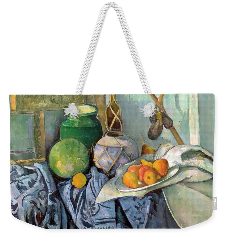 1893 Weekender Tote Bag featuring the photograph Still Life With A Ginger Jar And Eggplants by Peter Barritt