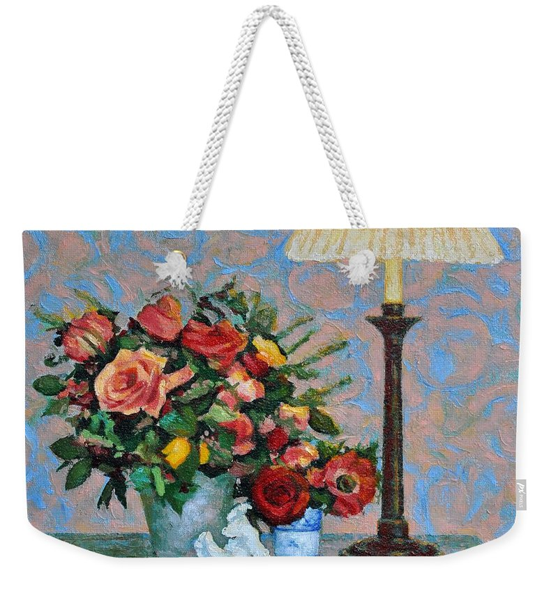 Flowers Weekender Tote Bag featuring the painting Still Life With A Lamp by Iliyan Bozhanov