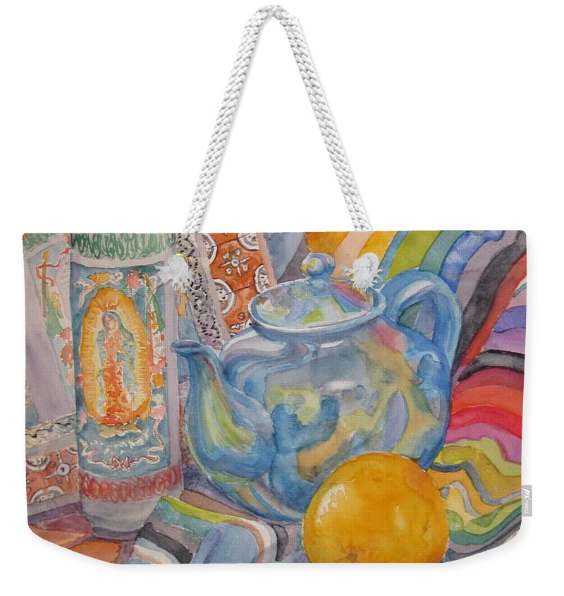 Still Life Weekender Tote Bag featuring the painting Still Life With A Mexican Blanket by Karen Boudreaux