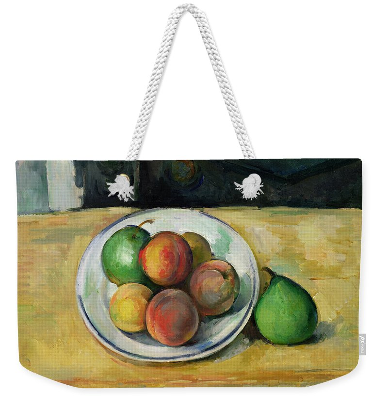 Still Weekender Tote Bag featuring the painting Still Life With A Peach And Two Green Pears by Paul Cezanne