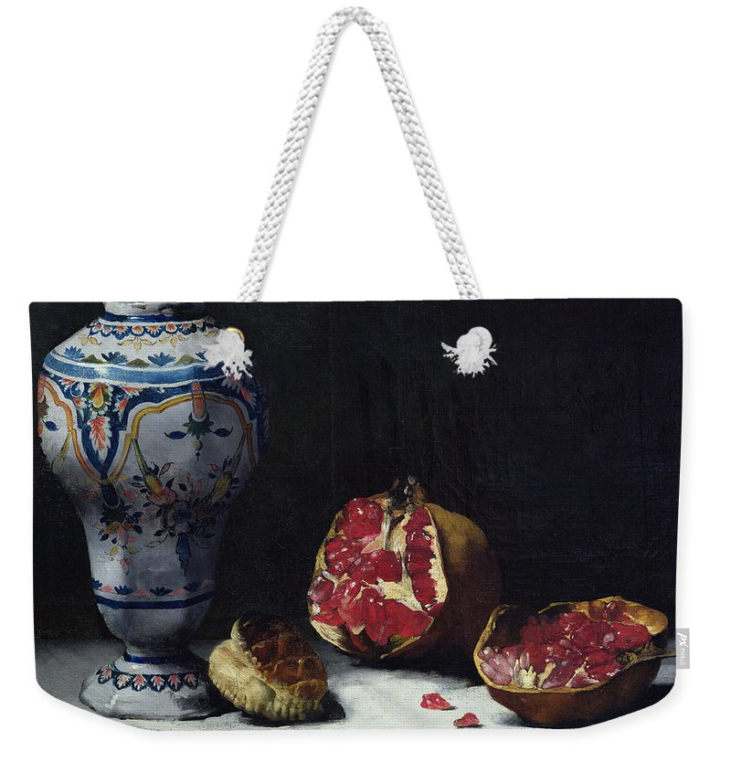 Still-life Weekender Tote Bag featuring the painting Still Life With A Pomegranate by Auguste Theodule Ribot