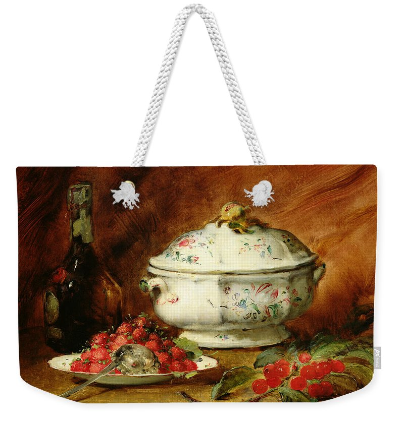 Still Weekender Tote Bag featuring the painting Still Life With A Soup Tureen by Guillaume Romain Fouace