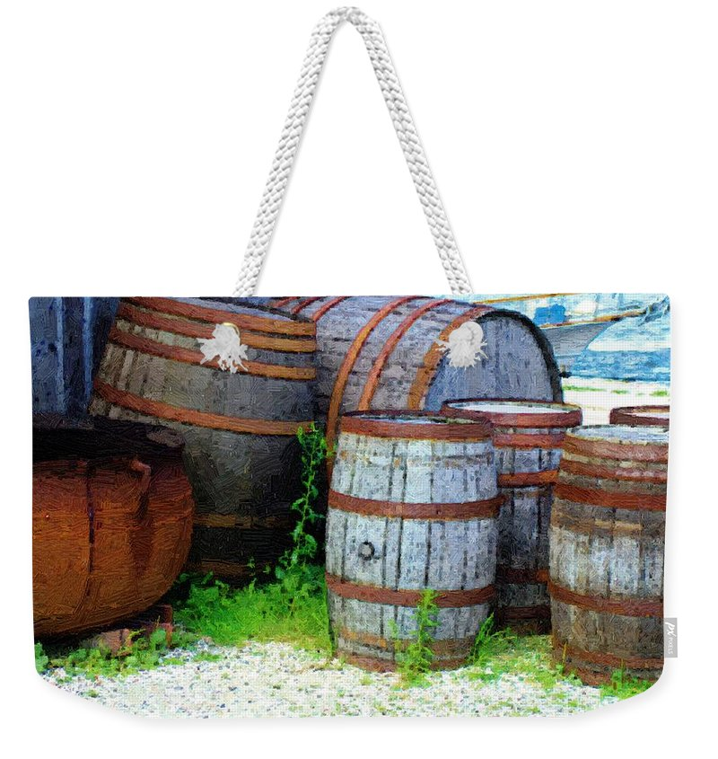 Antique Weekender Tote Bag featuring the painting Still Life With Barrels by RC DeWinter