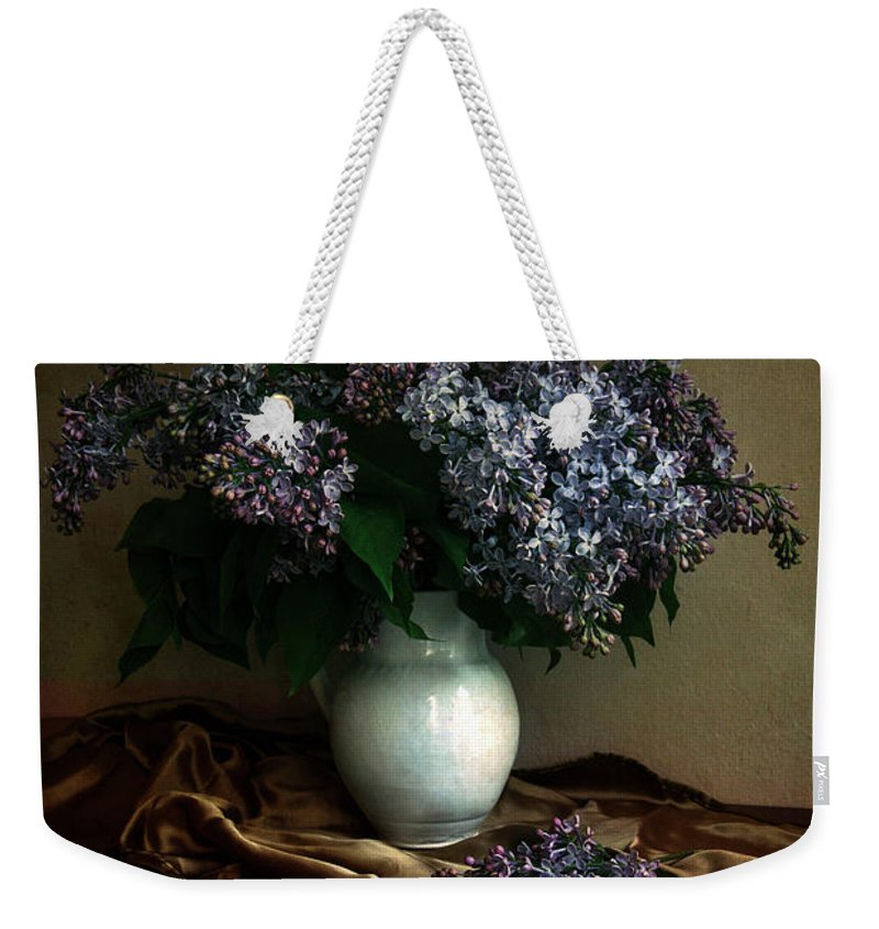 Flower Weekender Tote Bag featuring the photograph Still Life With Bouqet Of Fresh Lilac by Jaroslaw Blaminsky