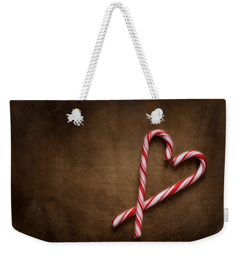 Candy Cane Weekender Tote Bag featuring the photograph Still Life With Candy Canes by Jolanta Zychlinska