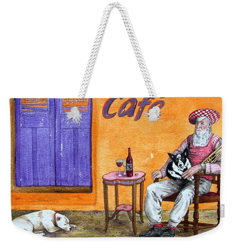 Music Weekender Tote Bag featuring the painting Still Life With Dogs And Music by Gale Cochran-Smith