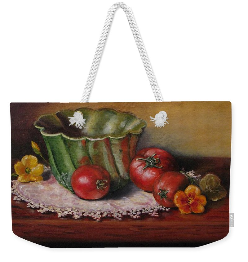 Judy Bradley Weekender Tote Bag featuring the painting Still Life With Green Bowl by Judy Bradley