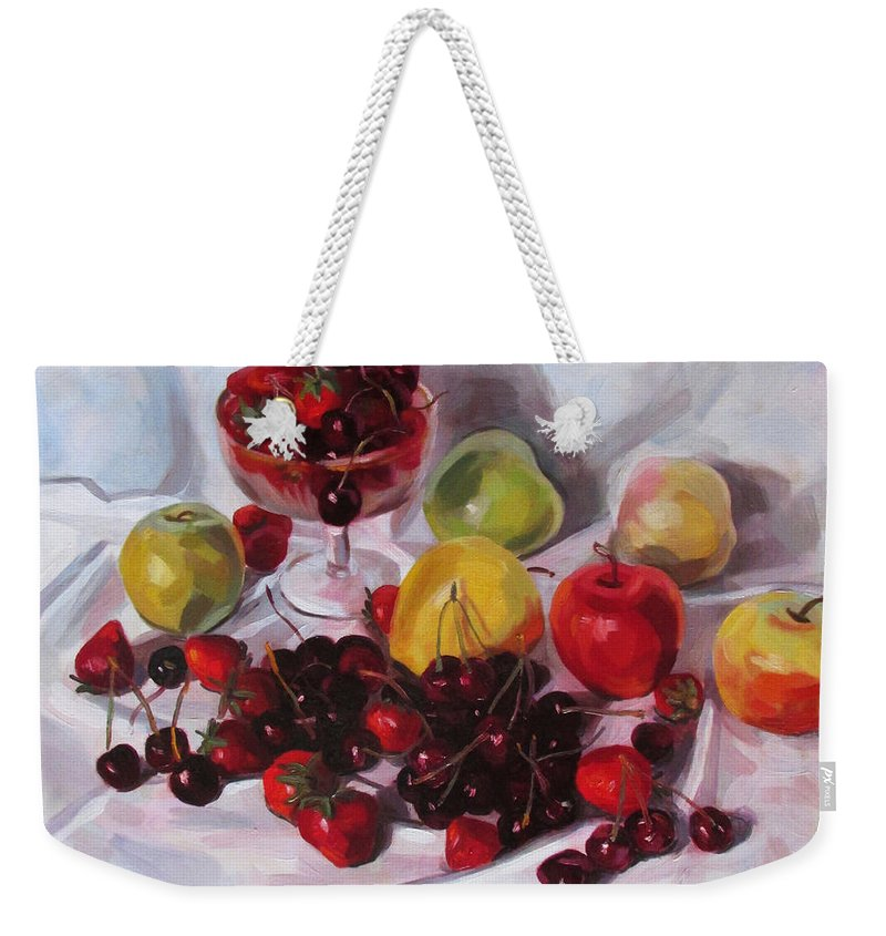 Fruits Weekender Tote Bag featuring the painting Still Life With Merry by Kateryna Bortsova