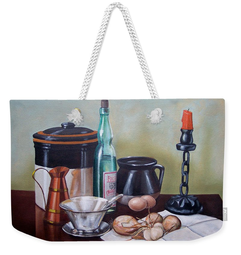 Still Life Weekender Tote Bag featuring the painting Still Life With Onions And Eggs by Frank Wilson