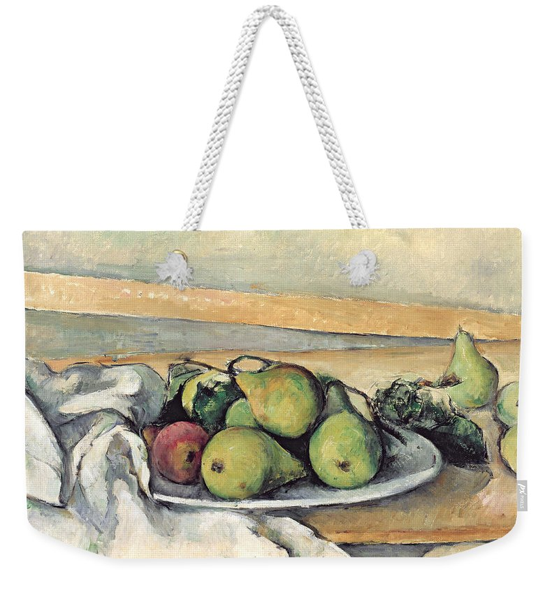 Still Weekender Tote Bag featuring the painting Still Life With Pears by Paul Cezanne