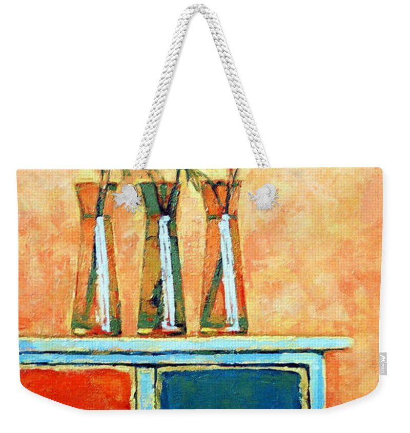 Poppies Weekender Tote Bag featuring the painting Still Life With Poppies by Iliyan Bozhanov