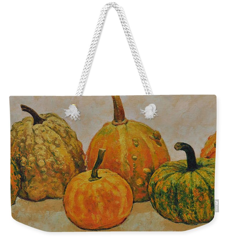 Still Life Weekender Tote Bag featuring the painting Still Life With Pumpkins by Iliyan Bozhanov