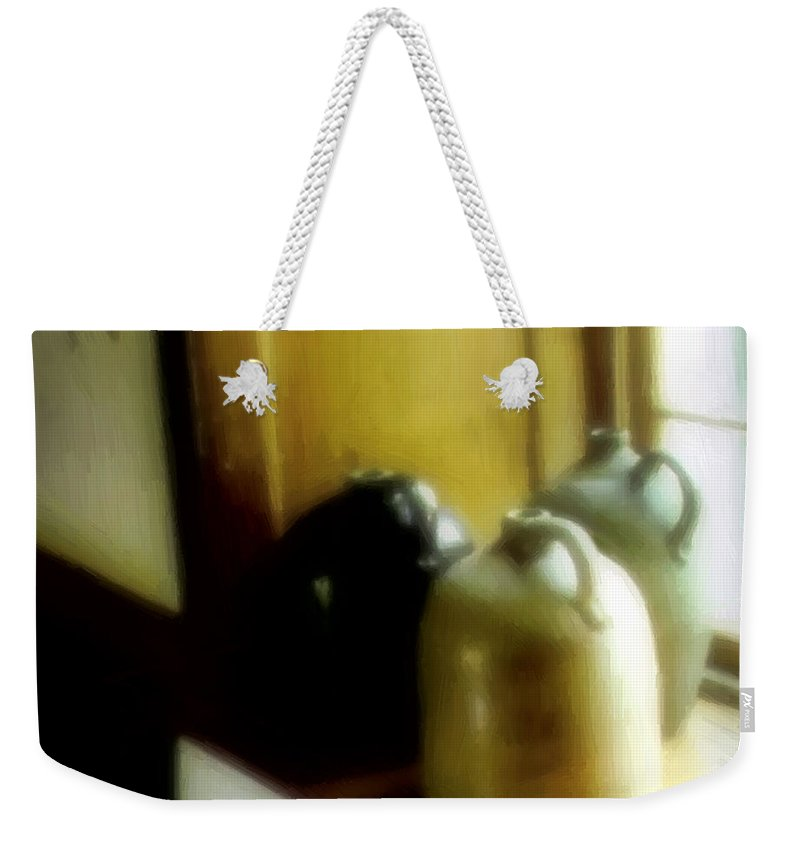 Antiques Weekender Tote Bag featuring the digital art Still Life With Stoneware by RC DeWinter