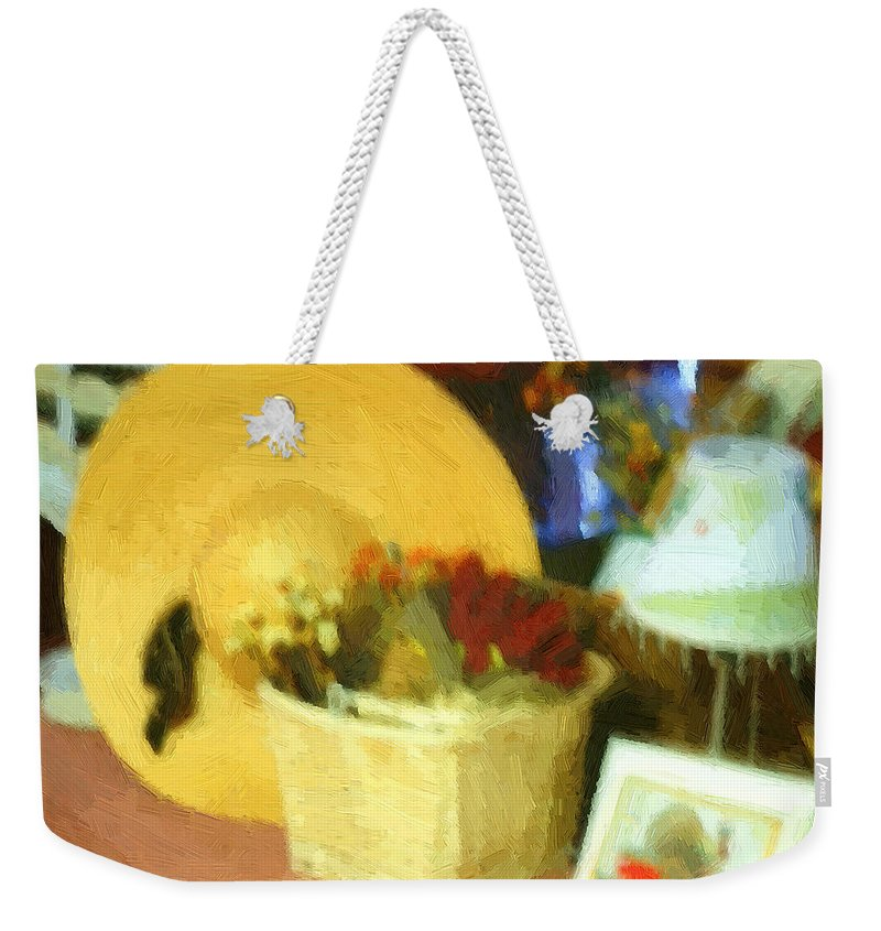 Basket Weekender Tote Bag featuring the digital art Still Life With Straw Hat by RC DeWinter