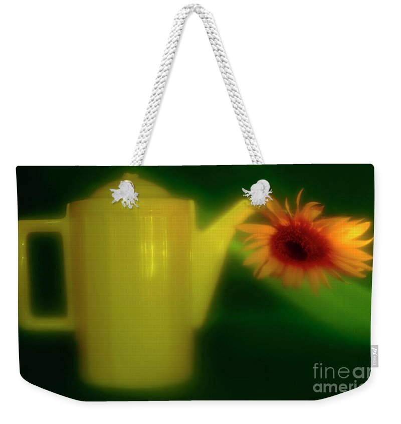 Sunflower Weekender Tote Bag featuring the photograph Still Life With Sunflower And Coffee Pot. by Alexander Vinogradov