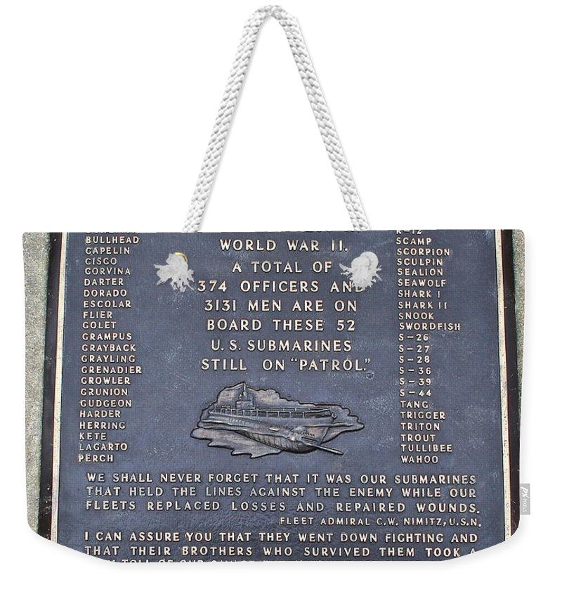Memorial Weekender Tote Bag featuring the photograph Still On Patrol by Rick Monyahan