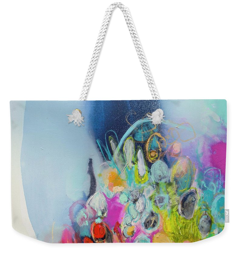 Abstract Weekender Tote Bag featuring the painting Still Playing by Claire Desjardins