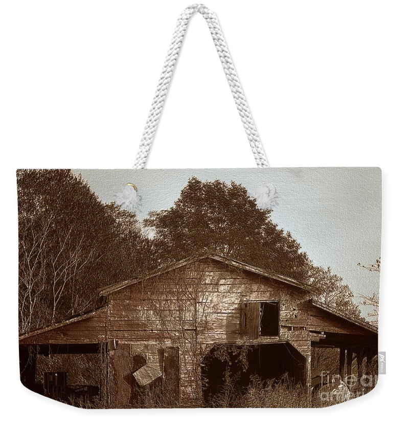 Barn Weekender Tote Bag featuring the photograph Still Working by Amanda Barcon
