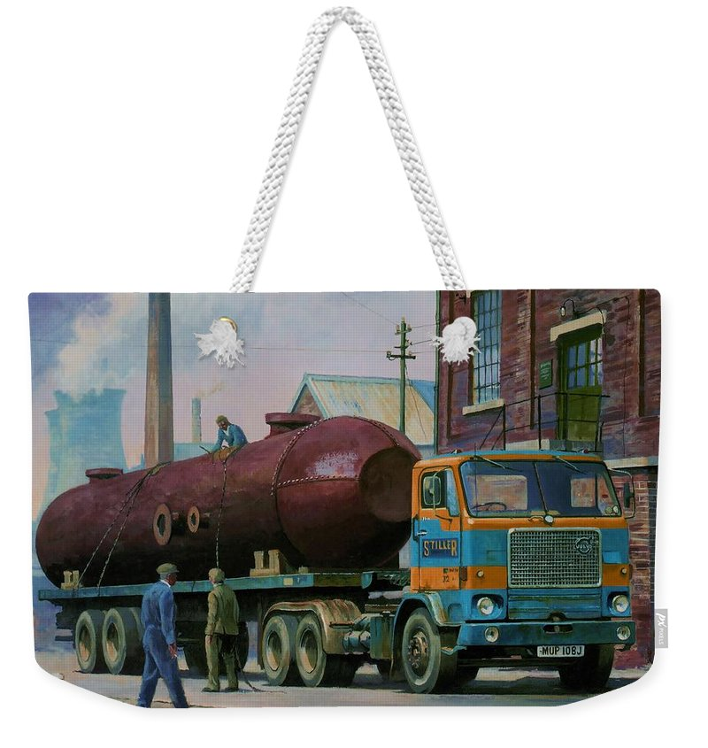 Commission A Painting Weekender Tote Bag featuring the painting Stillers Volvo F88 by Mike Jeffries