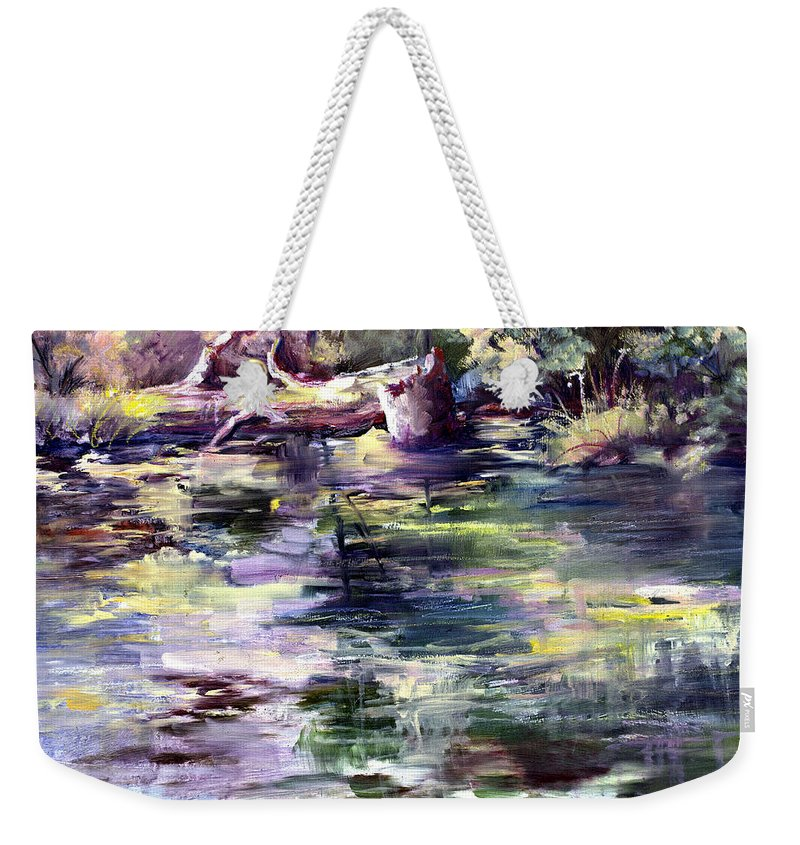 Stillwater Weekender Tote Bag featuring the painting Stillwater by Connie Williams
