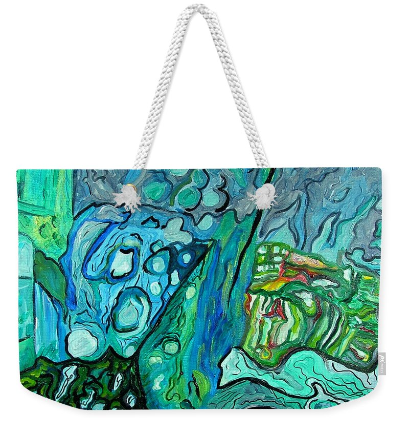 Stingrays Weekender Tote Bag featuring the painting Stingrays Departing by Heather Lennox