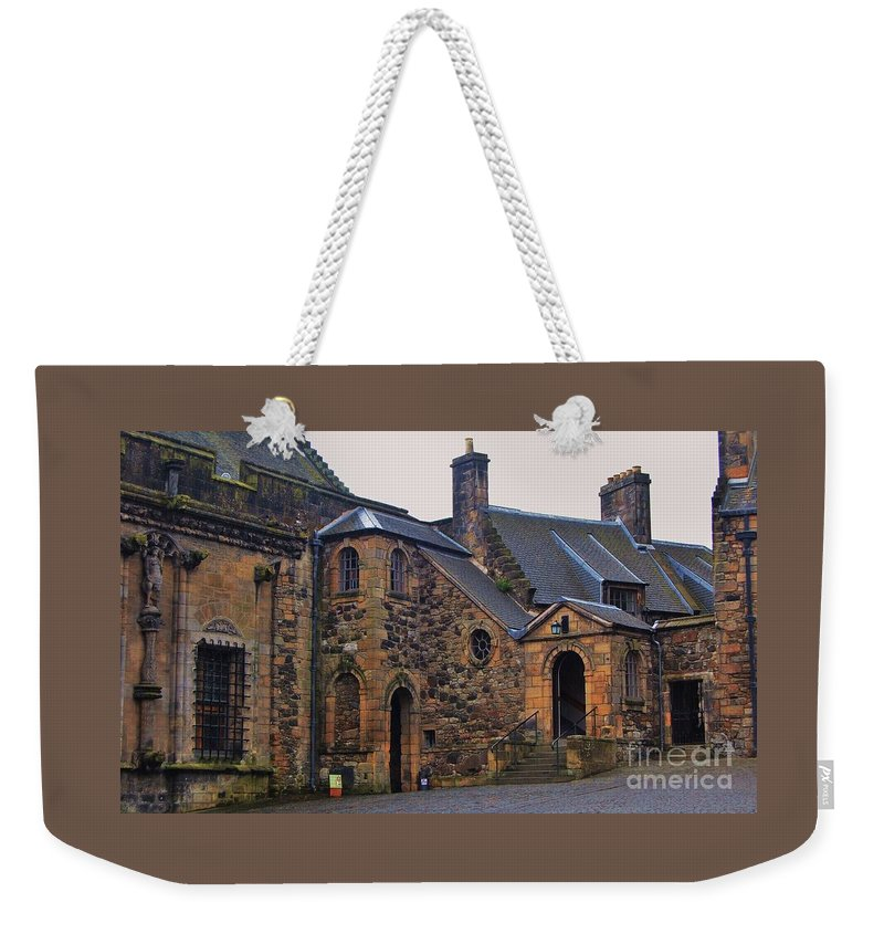 Art From Scotland Ancient Castle Stirling Old Stone Construction Scottish History Outdoors Travel Adventure Arch Windows Chimneys Architecture Landmark Doors Wood Print Canvas Print Metal Frame Poster Print Available On Pouches Shower Curtains Greeting Cards Weekender Tote Bags Phone Cases Mugs T Shirts Greeting Cards And Tote Bags Weekender Tote Bag featuring the photograph Stirling Castle Courtyard, Scotland by Marcus Dagan