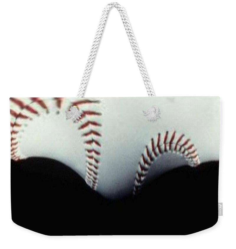 Baseball Weekender Tote Bag featuring the photograph Stitches Of The Game by Tim Allen