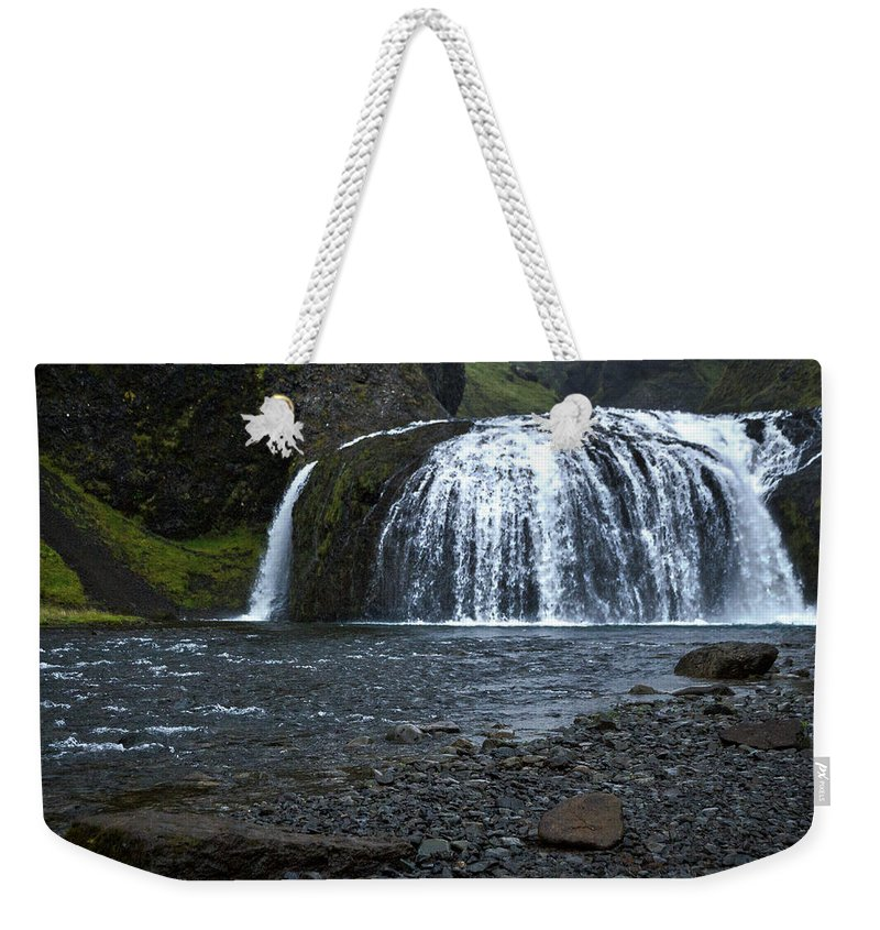 Iceland Weekender Tote Bag featuring the photograph Stjornarfoss Waterfall - Iceland by Stuart Litoff