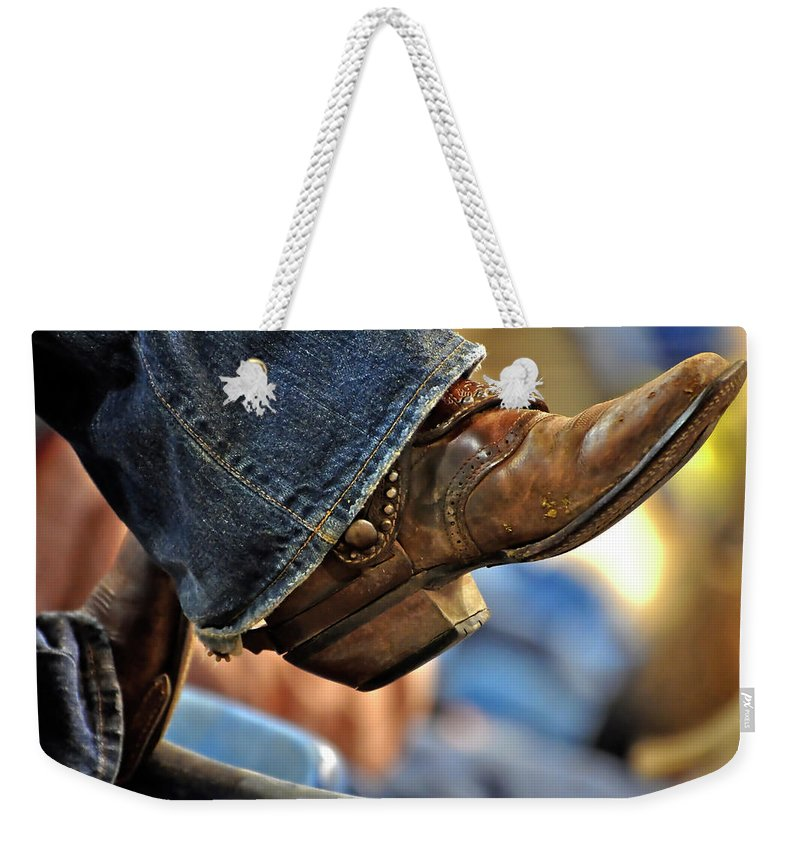 Boots Weekender Tote Bag featuring the photograph Stock Show Boots I by Joan Carroll