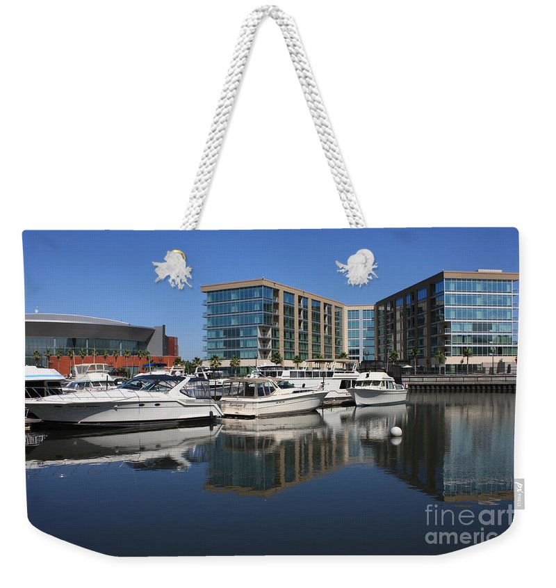Stockton Weekender Tote Bag featuring the photograph Stockton Waterscape by Carol Groenen