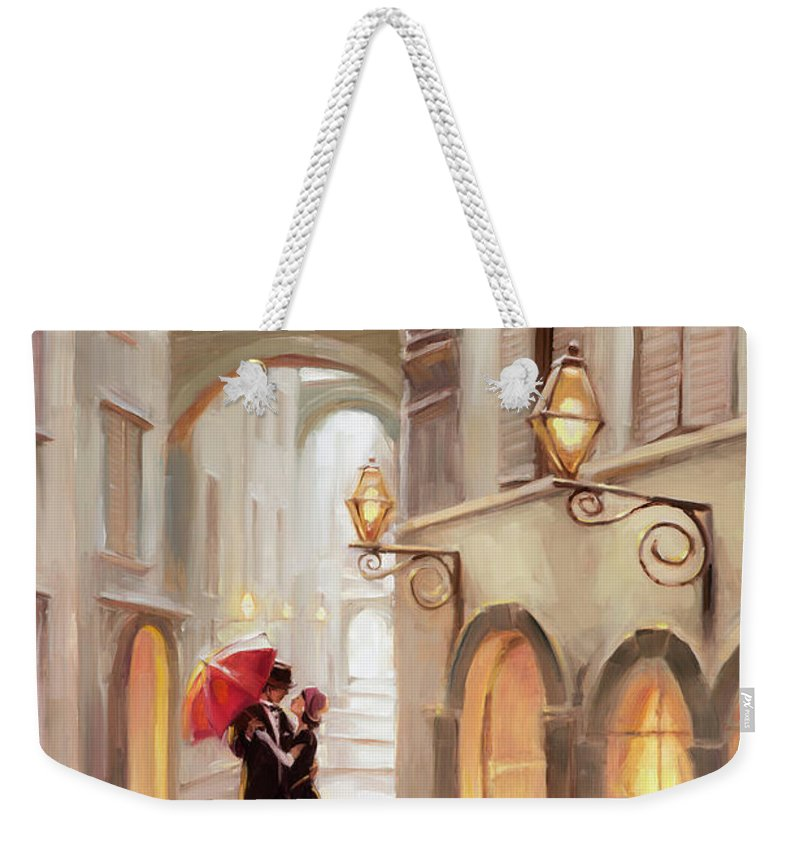 Love Weekender Tote Bag featuring the painting Stolen Kiss by Steve Henderson