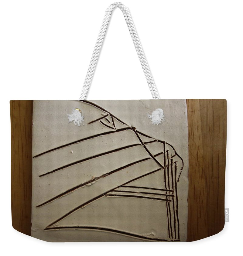 Jesus Weekender Tote Bag featuring the ceramic art Stone - Tile by Gloria Ssali