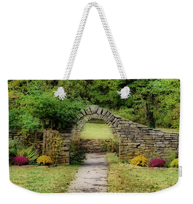 Spring Mill State Park Weekender Tote Bag featuring the photograph Stone Arches by Sandy Keeton