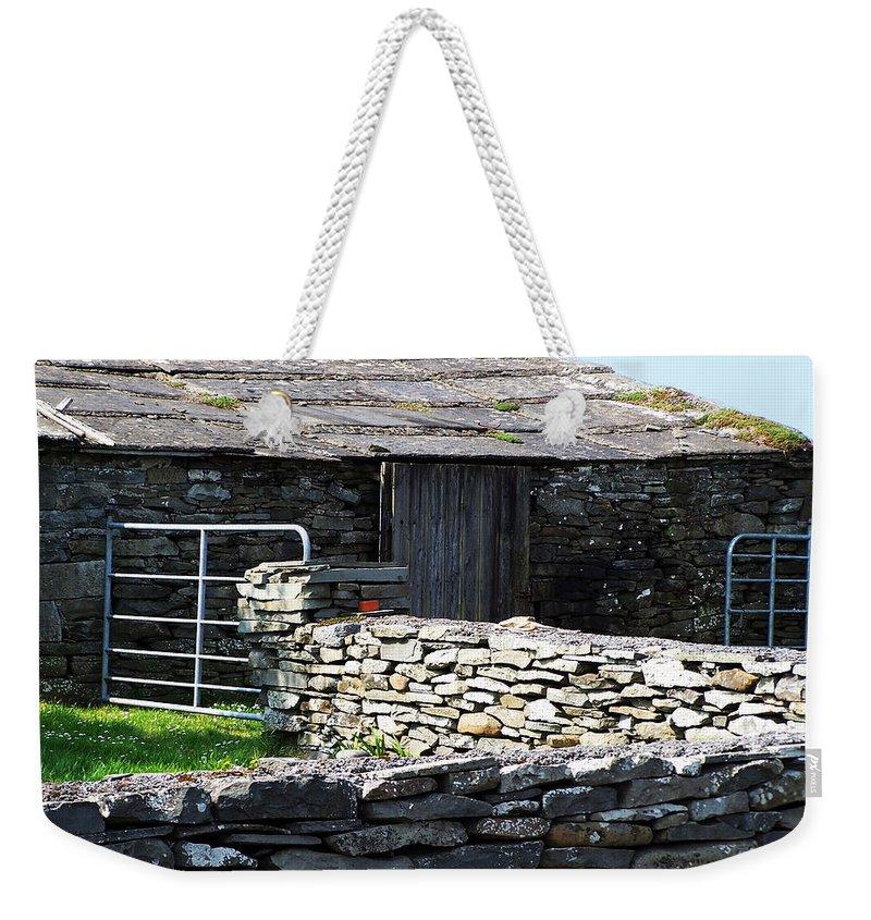 Irish Weekender Tote Bag featuring the photograph Stone Barn Doolin Ireland by Teresa Mucha