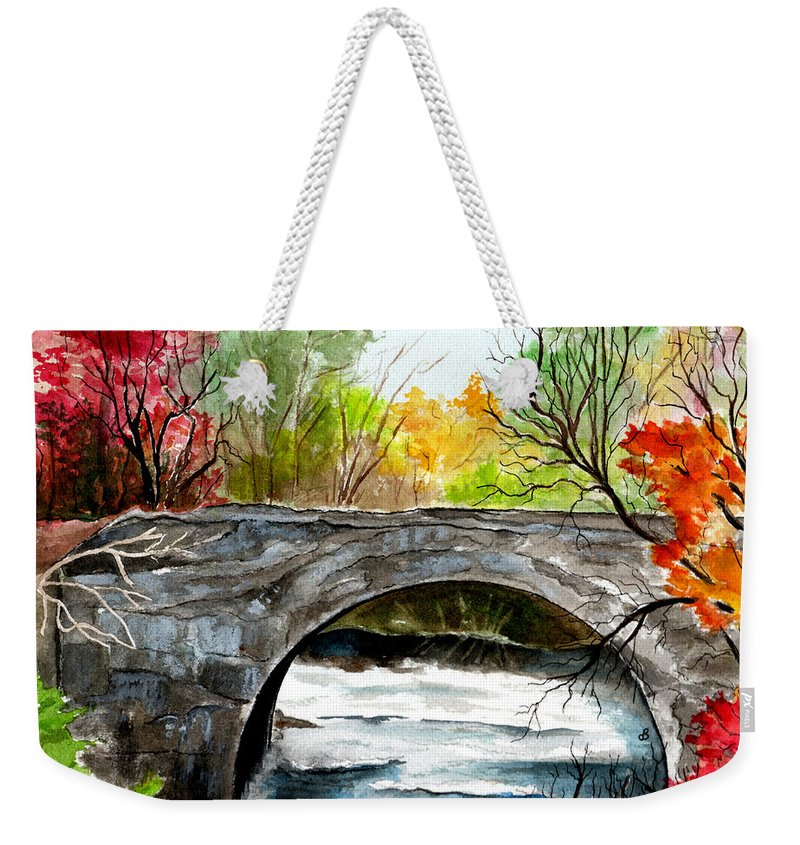 Landscape Weekender Tote Bag featuring the painting Stone Bridge In Maine by Brenda Owen